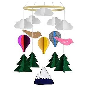 LUCY WEI Mobile Krippe,Deckenmobile Baby Windspiel,Filz Dekoration Mobile,Babybett Mobile f/ür Jungen und M/ädchen