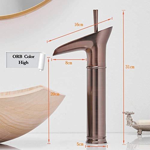 JYSLTLRS Wasserhahn Weinglas Stil Einhebel Wasserfall Waschbecken Wasserhahn Messing Heiße und kalte Waschbecken Mischbatterien, Schokolade -