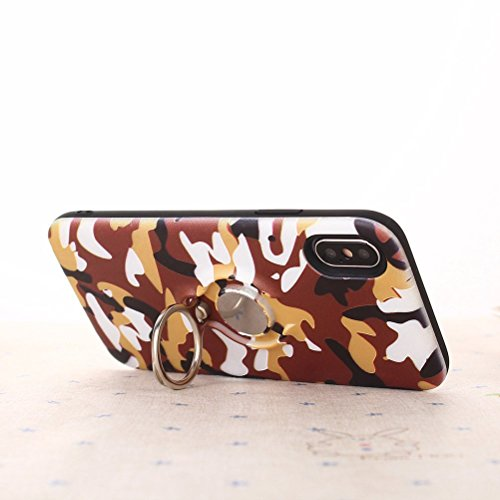 Camo Camouflage Printing Telefon Fall mit Ring Halter Manly Shockproof Anti-Kratz-Schutz Shell Cover für iPhone X