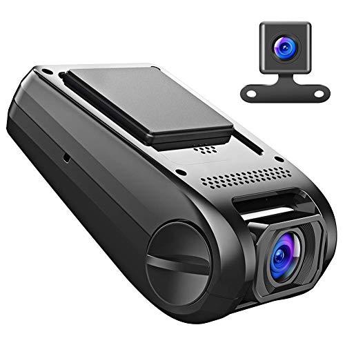 APEMAN Cámara de Coche 1080p Full HD Dashcam con Doble Cámaras Caja Negra con Lente de 170°Ultra Gran Angular con G-Sensor y WDR Ciclo de Grabación(Negro)