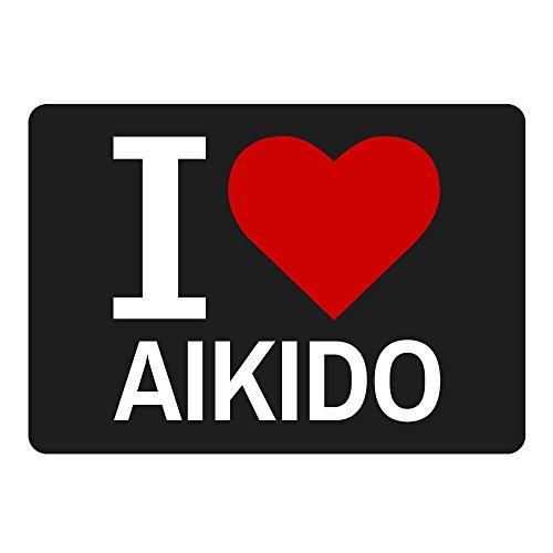 Mousepad Classic I Love Aikido schwarz