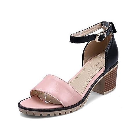 VogueZone009 Women's PU Assorted Color Buckle Open Toe High-Heels Heeled-Sandals,