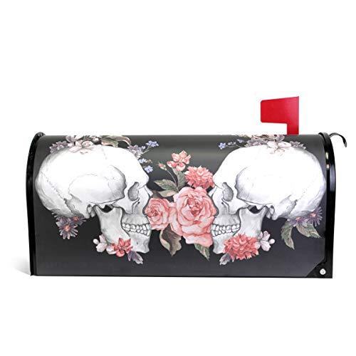 senya Briefkasten-Abdeckung, magnetisch, groß, Totenkopf mit Roten Blumen, Übergröße 25.5x20.8 inch Multi