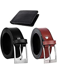 Jack klein Men's Patent Leather Black and Brown Belts with Black Wallet Combo (40)