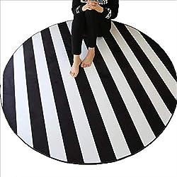 Alfombras Redonda Rayas Blancas Y Negras Silla para Computadora Estilo Minimalista Moderno Manta De Ocio Antideslizante (Color : Black and White Stripes, Tamaño : 100cm)