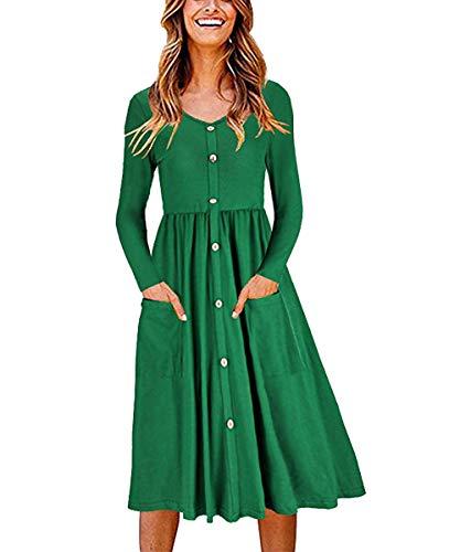 71630d5985e1c Popshion Women Casual Basic Long Sleeve T-Shirts Dress Button Down Swing  Midi Dress with
