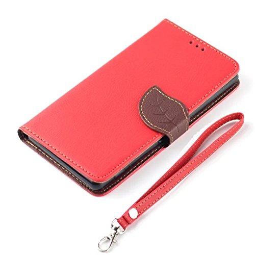 JIALUN-étui pour téléphone Feuille Magnetic Closure Style Premium en cuir PU Case Portefeuille avec sac à main Folio Pretective Case Housse en Silicone pour IPhone 5 5S SE ( Color : Red , Size : IPhon Red