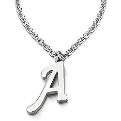 COOLSTEELANDBEYOND Nom Initial Lettre Alphabétique A Pendentif - Collier pour Femmes Homme - Acier - Couleur Argent - 50cm Corde Chaîne