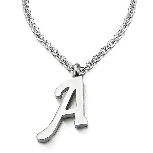 COOLSTEELANDBEYOND Name Initiale Alphabet Buchstaben A Anhänger Edelstah Halskette für Damen Herren Farbe Silber mit 50cm Stahl Seil-Kette