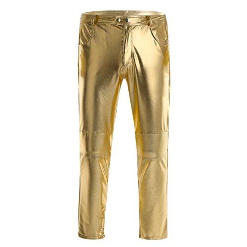 Agoky Herren Lange Hose Männer Enge Lederhose Schwarz Leggings Tights Pants Slim fit Wetlook Strumpfhosen mit Reißverschluss Glänzend Clubwear Gold M(Taille 79cm) (Glänzendes Gold Hose Herren)