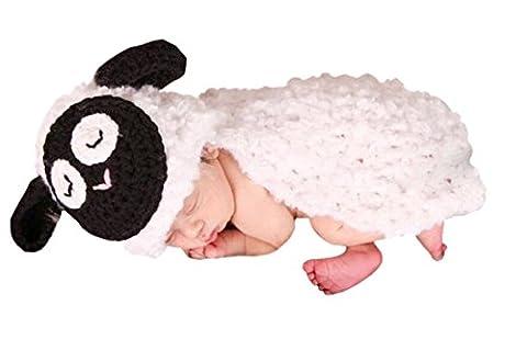 AKAAYUKO Bébé Fait Main Tricoté Photographie Props Costume (Blanc Mouton)