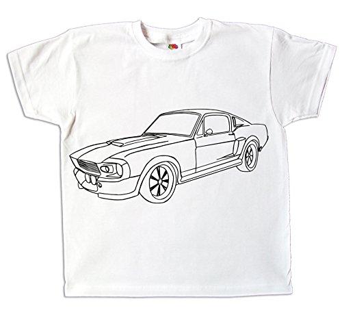 Kinder T-Shirt Auto Mustang Eleonore zum bemalen und ausmalen mit Vordruck Spiel zum Kindergeburtstag Kindergarten oder besonderes Weihnachtsgeschenk (116) (Ford-kinder-t-shirt)