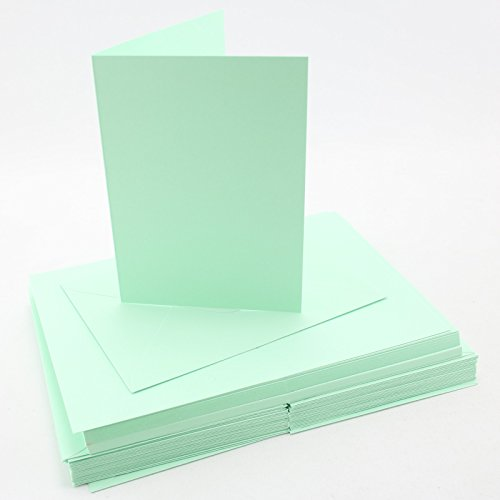 Craft UK blank greeting cards & envelopes - A6/C6 Size Pastel Leafbird Green x 50 by Coingallery