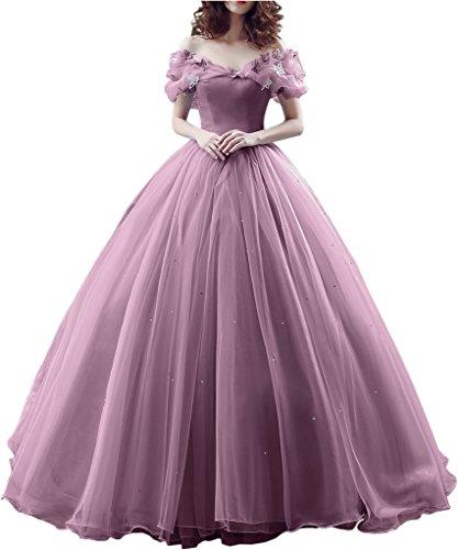 Victory Bridal Wunderschoen Alt Rosaes Kurzarm Abendleider Quincenera Ballkleider Lang Promkleider Cinderella -42 Alt Rosa
