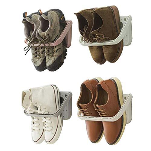 Baffect Schuhhalter faltbar Wand montiert 4 Stücke, Schuhregal Klappschuhregal Hängeregal für Schuhen Aufbewahrungsregal für Schuhen Wandregal für Schuhen ohne Bohren, 4 pcs weiß