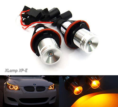 Bernsteinfarbene Cree-LED, Standlichtringe, Scheinwerfer-Halo-Ring für Tagfahrlicht, Canbus-Leuchtmittel für E39,E60,E61,E87,E53,E63,E65, 2 Stück. - Für Halo-licht Autos