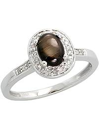 14 Karat Weissgold Ovalschliff Steinring mit 0.08 Karat Brillantschliff Diamanten und 0.85 Karat Ovalschliff (7x5mm) Sternsaphir Stein,(10 mm) breit