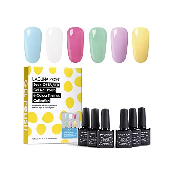 Lagunamoon Esmaltes Semipermanentes, 6pcs Kit de Uñas en Gel UV LED – Lighten the mood
