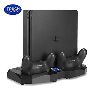 All-in-One Ständer für PS4 / PS4 Slim / PS4 Pro – innoAura Standlüfter mit Touch Control Panel + Controller Ladestation + Temperatursensor für alle Playstation 4 Konsolen
