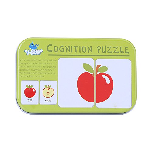 Lernkarten Fahrzeug/Tier/Obst/Lebende Güter Matching Lernspiel Pädagogisches Spielzeug mit Eisen Aufbewahrungsbox für Babys und Kleinkinder(#3)