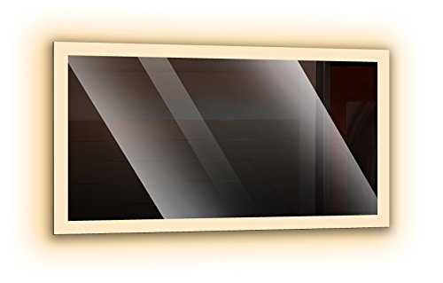 Badspiegel mit LED - Beleuchtung, Wandspiegel, Badezimmerspiegel - rundherum beleuchtet durch satinierte Lichtflächen, Design LED Spiegel für Badezimmer, Farbe: Weiß - Warmweiß, Größe: Breite 80 cm x Höhe 60 cm