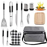 Grilljoy BBQ Grill Accessories Tool Set with 15 can Gray Insulated Cooler Bag - All-in-one BBQ Picnic Cooler Bag - 12pcs Stainless Steel Camping Utensil Kit For Outdoor Grilling - Prefect Gift for Man
