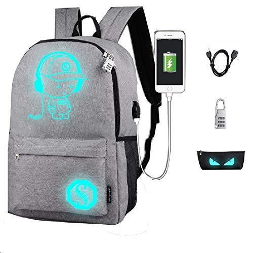 Schultaschen, Anime Leucht Rucksack Canvas Schulter Tagesrucksack Boy Rucksack mit USB-Kabel und Schloss und Bleistift Tasche für Jugendliche Mädchen Jungen (Grau)