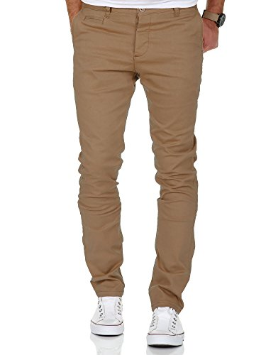 Amaci&Sons Herren Slim Fit Stretch Chino Hose Jeans 7100 Beige W32/L32