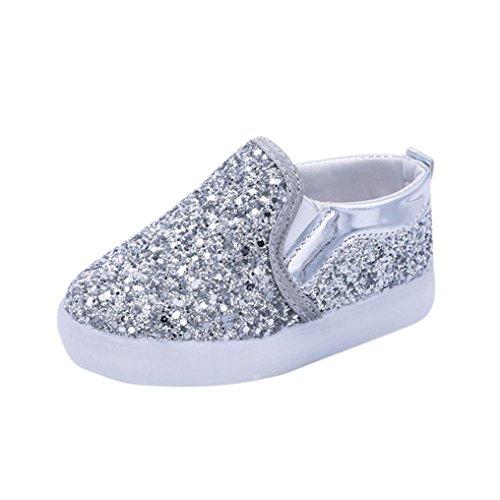 D Licht, FNKDOR Mädchen Jungen Baby Lauflernschuhe, 21-30 (24 Fußlänge:14.5CM, Silber) (Baby Schuhe Mädchen Silber)