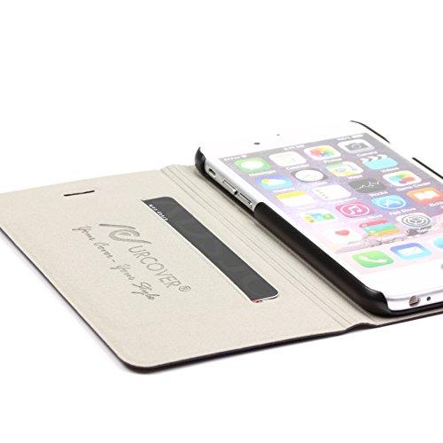 URCOVER Coque Portefeuille Ultra Fin pour Apple iPhone 6 6S Plus | Cover Dure á Pochette en Orange | Housse Étui avec Rabat - Support - Slot Cartes Bleu foncé