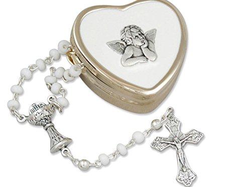 ommunion....zierlicher Rosenkranz im goldfarbenen Herzdöschen, Raphael Engel (Die Erste Kommunion Kreuz)