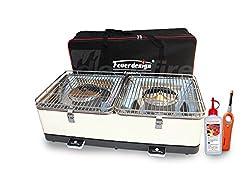 Holzkohle Tischgrill SANTORIN - Rauchfrei - v. Feuerdesign - Cremeweiss im Spar Pack mit Brennpaste und Stabfeuerzeug