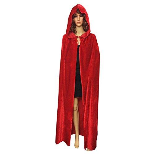 Samt Rote Cape Kostüm - Yalatan Damen Herren Halloween Umhang Mit Kapuze Samt Lange Cape Weihnachtsfeier Kostüme(Rot,51 inch)