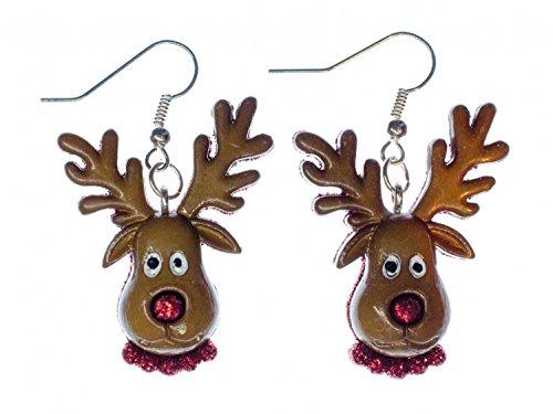 Braun Elch (Rentier Ohrringe Miniblings Weihnachten Rudolf Rudolph Elch Kopf braun rote Nase)