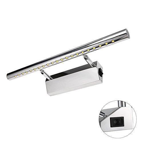 Liqoo® LED Spiegelleuchte | Spiegellampe 180°einstellbar, Edelstahl, Warmweiß