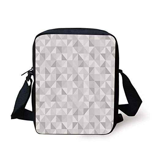 Grey,Faded Cubes Geometric Mosaic Squares and Triangles Color Movement Gradient Print Urban Art Decorative,Gray White Print Kids Crossbody Messenger Bag Purse Womens Urban Garden