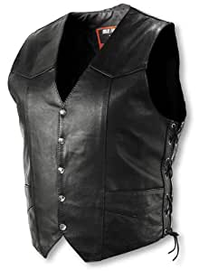 Interstate Leather Men's Basic Vest with Side Lace (XXXX-Large)