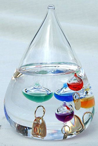 Galileo-thermometer 11 (Freistehendes Galileo-Thermometer in Tropfenform)