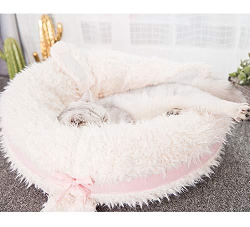 CLEAVE WAVES Hundebett FüR Haustiere Katzen Rosa Rundmatte Comfort Deep Dish Cuddler/Katze Und Hundebettkissen FüR Gelenkentlastung Und Verbesserten Schlaf Deep Sleepingz/Maschinenwaschbar,M