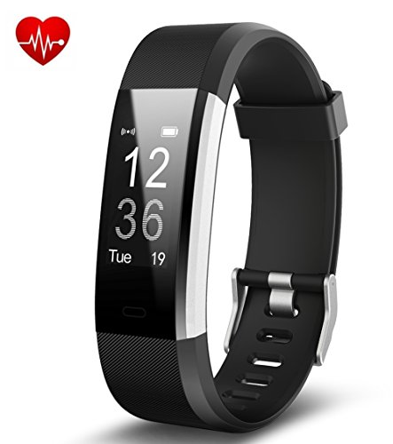 Joyzy fitness tracker fit orologio con cardiofrequenzimetro, j2impermeabile pedometro contatore touch screen activity tracker, sleep monitor smart wristband, black