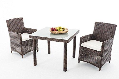 Gartenmöbel, Gartenmöbel-Set, Sitzgruppe Dorado M100, braun-meliert / creme-weiß, Polyrattan-Aluminium-Gestell, Gartengarnitur, Sitzgarnitur.