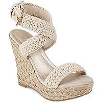 Zormey 2017 Mujeres Sandalias De Cuña Alpargata Verano Bohemia Romana Womens High Heels Wedges Open Toe Sandalias Al Tobillo Cross-Tied Zapatos Beige 5