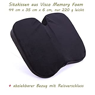 Sitzkissen aus Visco Memory Foam Ergonomisch Bequem lindert Rückenschmerzen und Steißbeinschmerzen beim Sitzen