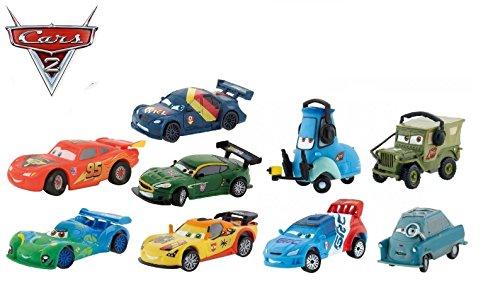 Preisvergleich Produktbild Bullyland Disney Pixar Cars Autospielset 9.teilig - Lightning McQueen ,Guido, Carla Veloso, Miguel Camino, Raoul CaRoule, Sebastian Schnell, Nigel Gearsley, Prof.Z, Sarge