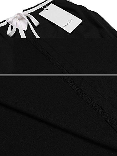 Ekouaer Damen Ärmellos Nachthemd Nachtwäsche Sleepwear Kurz Viskose Nachtkleid Sleepshirt sexy Brief Print Gemütlich Z Schwarz