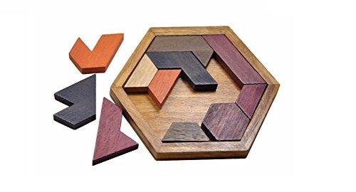 eckpuzzle mit geometrischen Formen / Motorik Holzbausteine Geometrie Puzzle / Geschicklichkeitsspiel für Kinder ab 4 Jahre aus Holz in braun ()