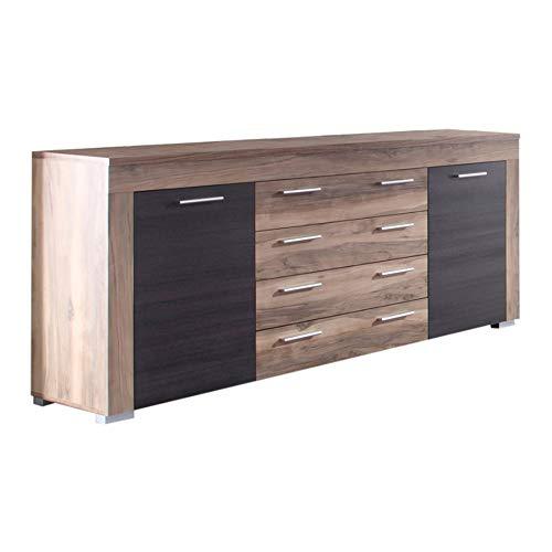trendteam BM87259 Sideboard Wohnzimmerschrank Nussbaum-satin, Absetzungen dunkelbraun Touchwood Nachbildung, BxHxT 176x79x40 cm