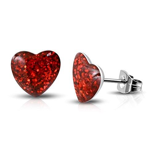 Edelstahl Red Druzy Kristall-Liebes-Herz-Bolzen-Ohrringe - Kristall-herz-bolzen-ohrringe