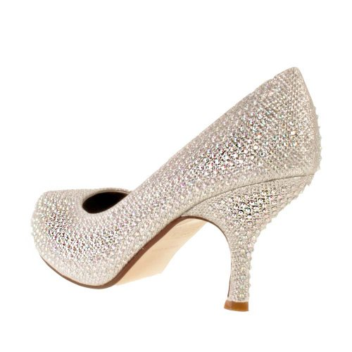 Ladies TRUFFLE Silver Diamante Sparkle Kitten Heel Evening Bridal