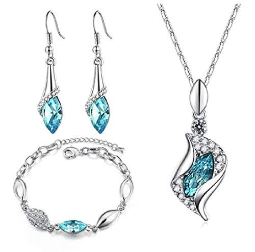 INTVN Set di Gioielli in Cristallo, Collana Orecchini Bracciali Crystal Ornamento Accessori Anniversario e Regali di Compleanno per Donne e Ragazze